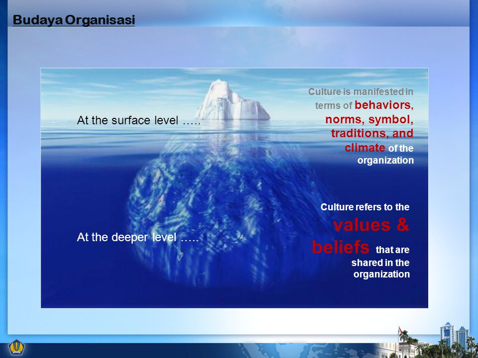 At the surface level ….. At the deeper level ….. Culture is manifested in terms of behaviors, norms, symbol, traditions, and climate of the organizati
