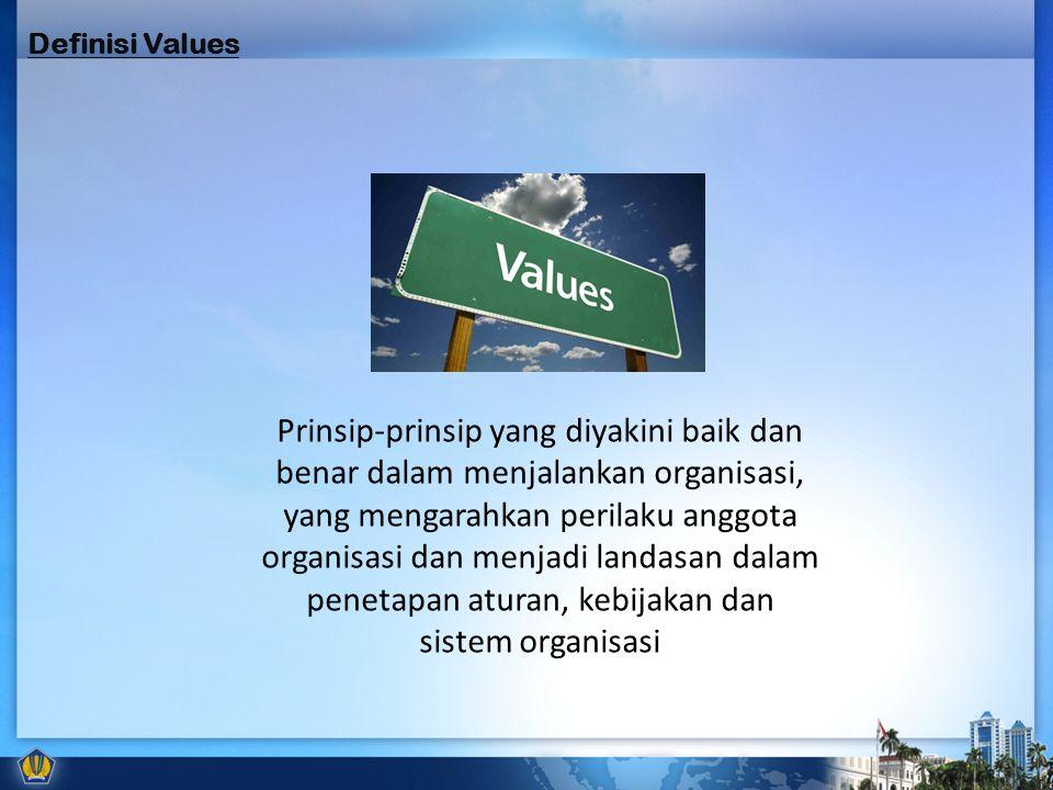 Prinsip-prinsip yang diyakini baik dan benar dalam menjalankan organisasi, yang mengarahkan perilaku anggota organisasi dan menjadi landasan dalam penetapan aturan, kebijakan dan sistem organisasi Definisi Values