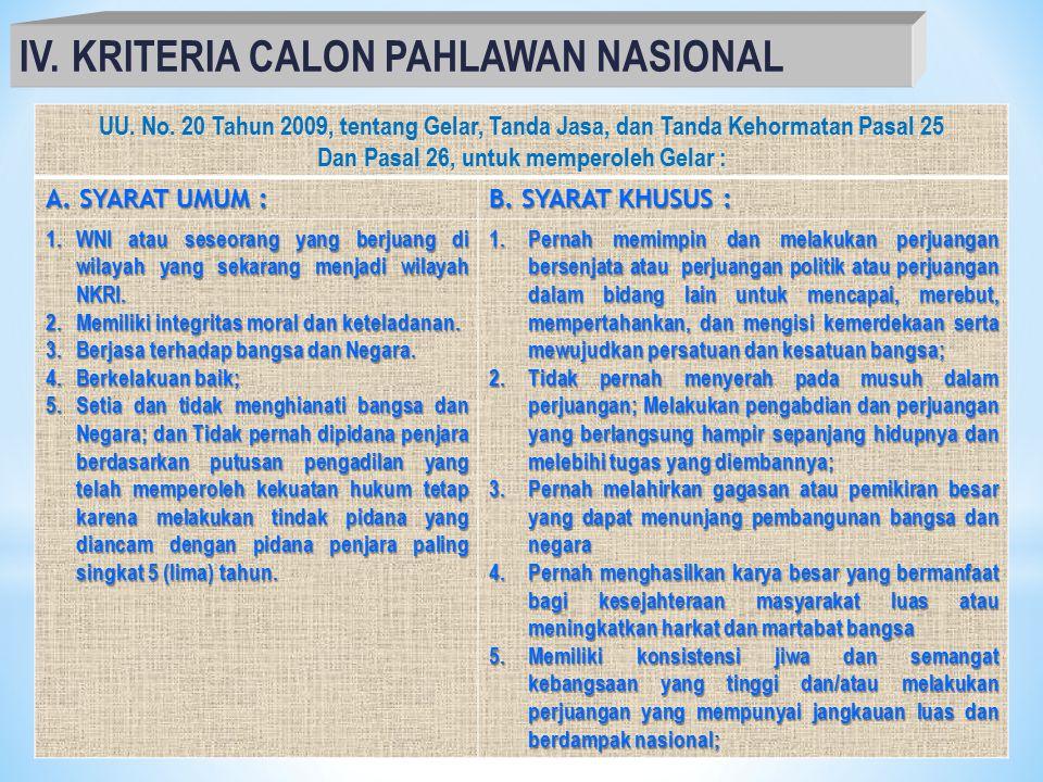 6 IV.KRITERIA CALON PAHLAWAN NASIONAL UU.No.