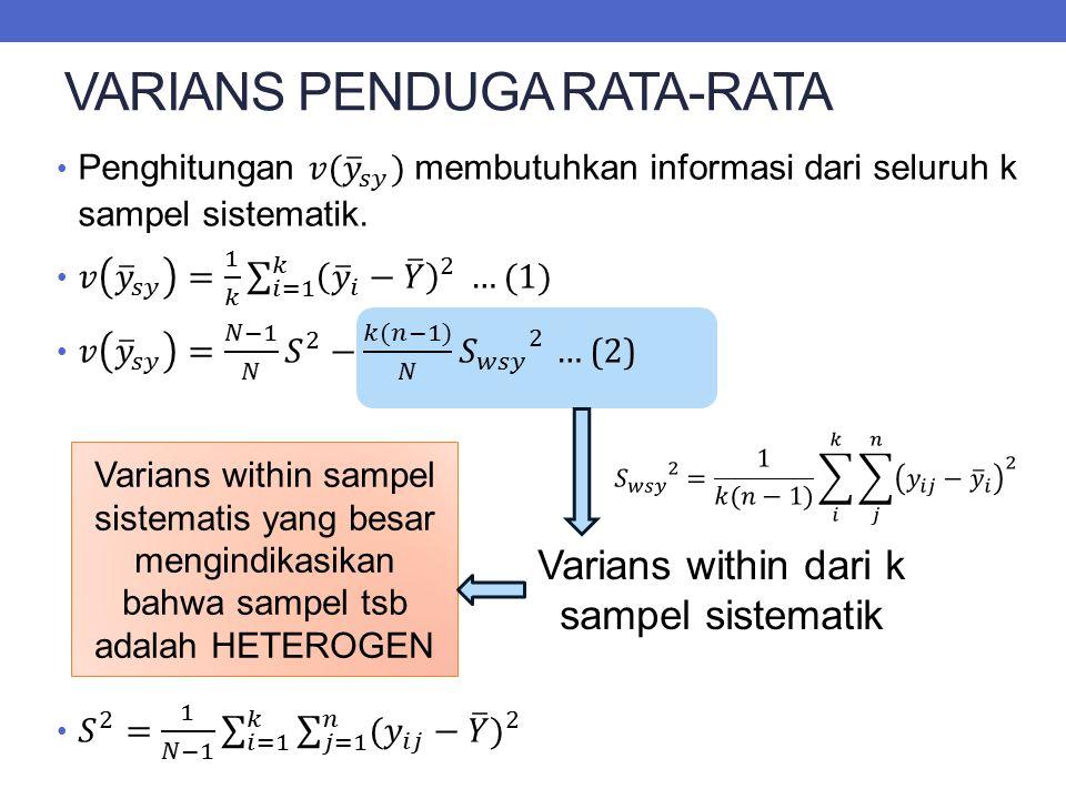 VARIANS PENDUGA RATA-RATA Varians within dari k sampel sistematik Varians within sampel sistematis yang besar mengindikasikan bahwa sampel tsb adalah HETEROGEN
