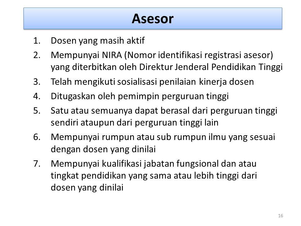 Asesor 16 1.Dosen yang masih aktif 2.Mempunyai NIRA (Nomor identifikasi registrasi asesor) yang diterbitkan oleh Direktur Jenderal Pendidikan Tinggi 3