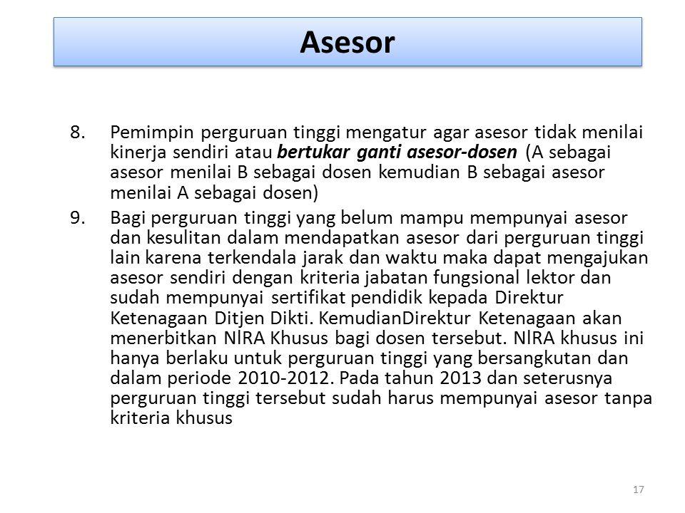 Asesor 17 8.Pemimpin perguruan tinggi mengatur agar asesor tidak menilai kinerja sendiri atau bertukar ganti asesor-dosen (A sebagai asesor menilai B