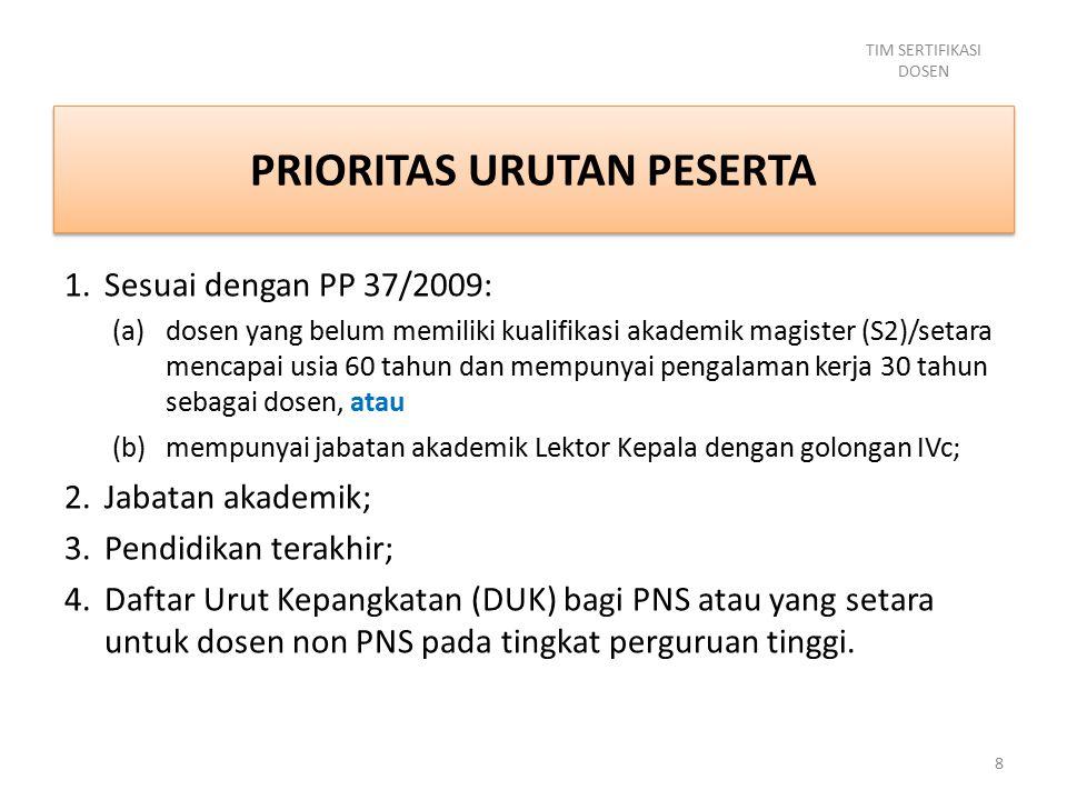 PRIORITAS URUTAN PESERTA 1.Sesuai dengan PP 37/2009: (a)dosen yang belum memiliki kualifikasi akademik magister (S2)/setara mencapai usia 60 tahun dan