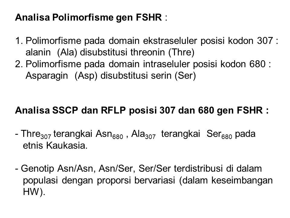 Analisa Polimorfisme gen FSHR : 1. Polimorfisme pada domain ekstraseluler posisi kodon 307 : alanin (Ala) disubstitusi threonin (Thre) 2. Polimorfisme