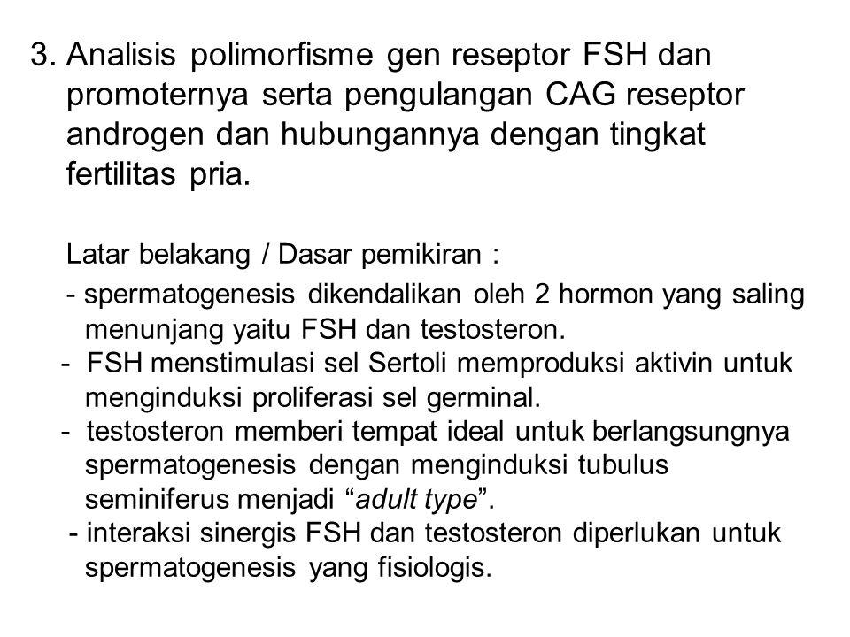 3. Analisis polimorfisme gen reseptor FSH dan promoternya serta pengulangan CAG reseptor androgen dan hubungannya dengan tingkat fertilitas pria. Lata