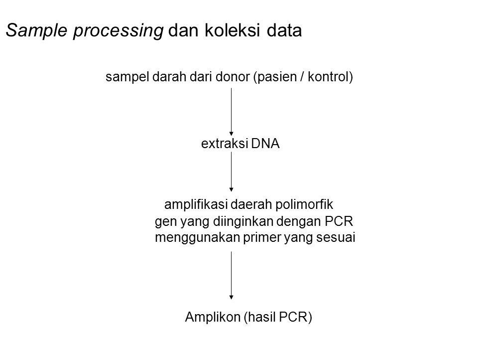 Sample processing dan koleksi data sampel darah dari donor (pasien / kontrol) extraksi DNA amplifikasi daerah polimorfik gen yang diinginkan dengan PC