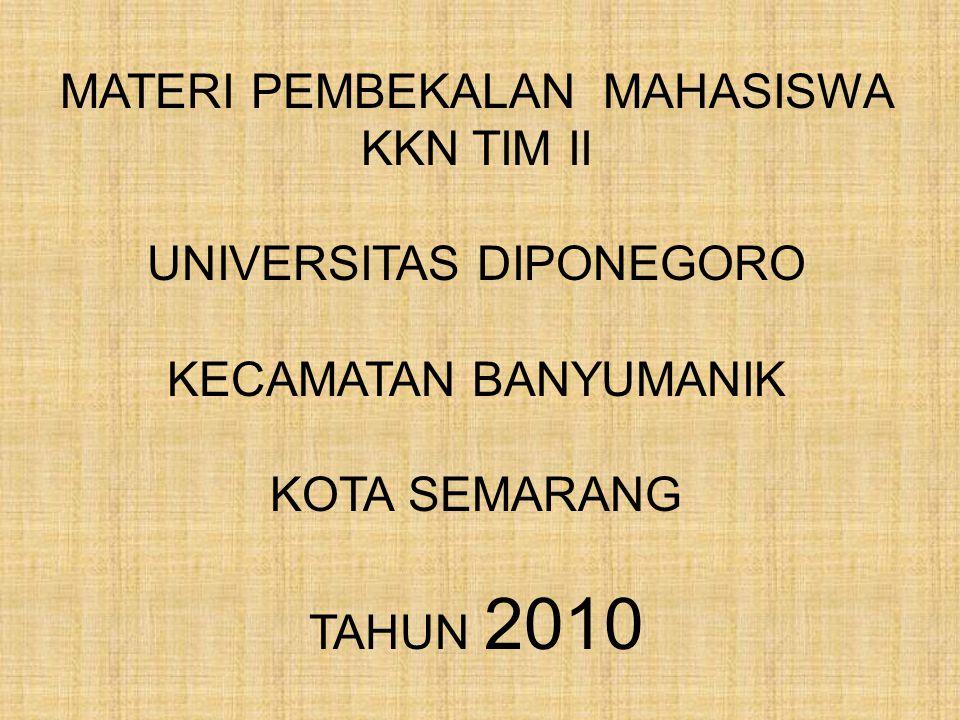 GAMBARAN UMUM Kecamatan Banyumanik merupakan salah satu dari 16 Kecamatan yang ada di wilayah Pemerintah Kota Semarang, yang diresmikan pada tanggal 17 April 1993 oleh Gubernur Jawa Tengah sebagai tindak lanjut dari Peraturan Pemerintah No.50 Tahun 1992 yang antara lain berisi penataan wilayah di Kota Semarang.