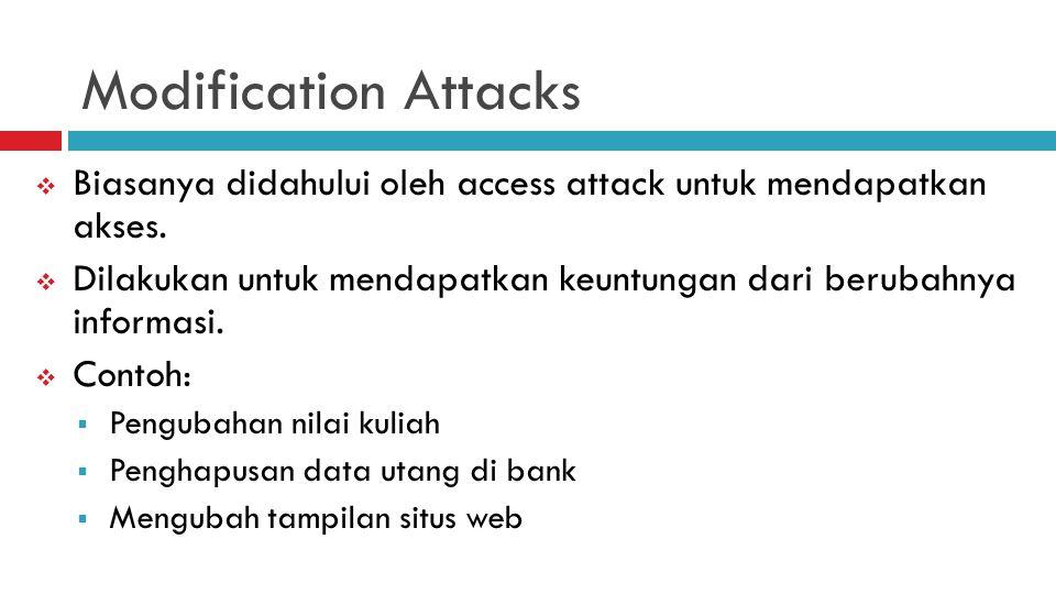 Modification Attacks  Biasanya didahului oleh access attack untuk mendapatkan akses.  Dilakukan untuk mendapatkan keuntungan dari berubahnya informa