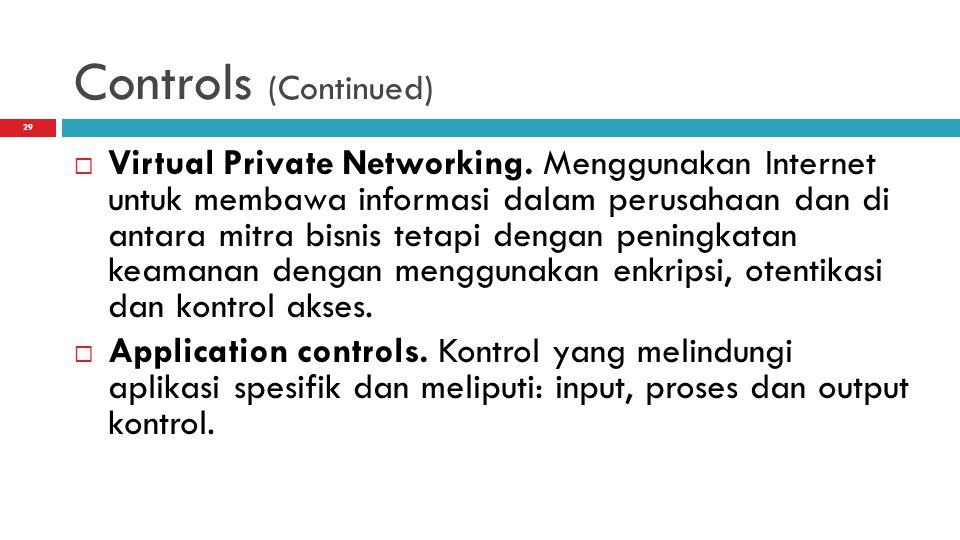 Controls (Continued)  Virtual Private Networking. Menggunakan Internet untuk membawa informasi dalam perusahaan dan di antara mitra bisnis tetapi den