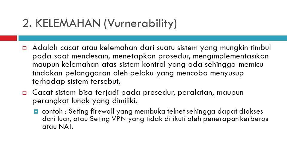 2. KELEMAHAN (Vurnerability)  Adalah cacat atau kelemahan dari suatu sistem yang mungkin timbul pada saat mendesain, menetapkan prosedur, mengimpleme
