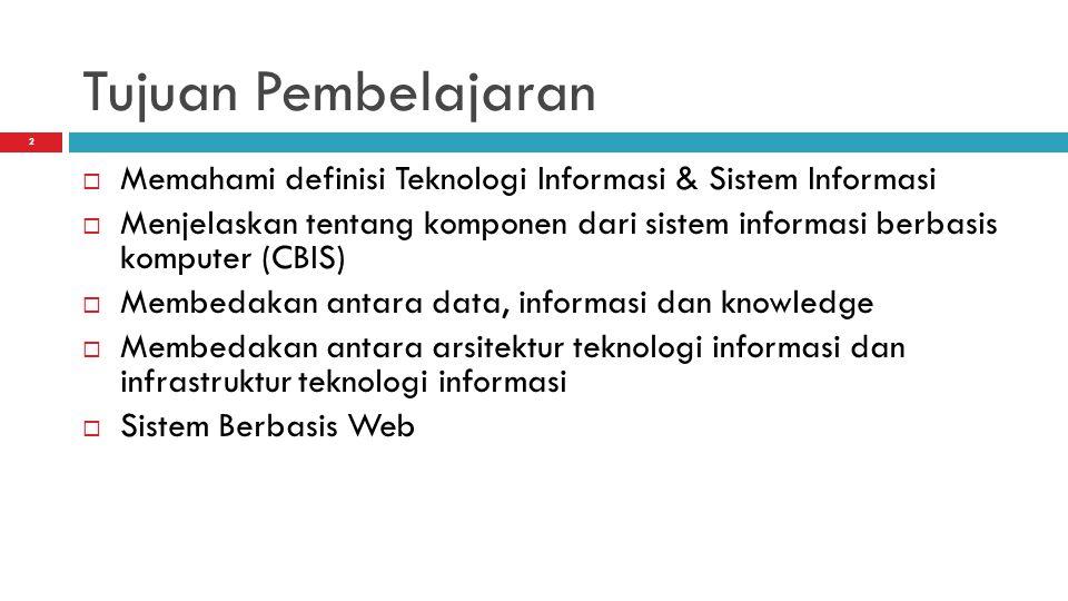 2 Tujuan Pembelajaran  Memahami definisi Teknologi Informasi & Sistem Informasi  Menjelaskan tentang komponen dari sistem informasi berbasis kompute