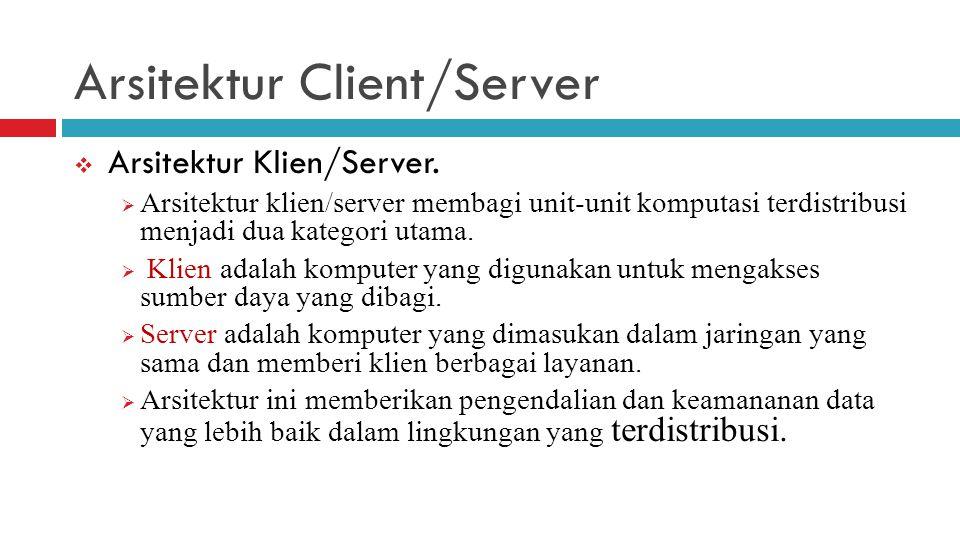 Arsitektur Client/Server  Arsitektur Klien/Server.  Arsitektur klien/server membagi unit-unit komputasi terdistribusi menjadi dua kategori utama. 