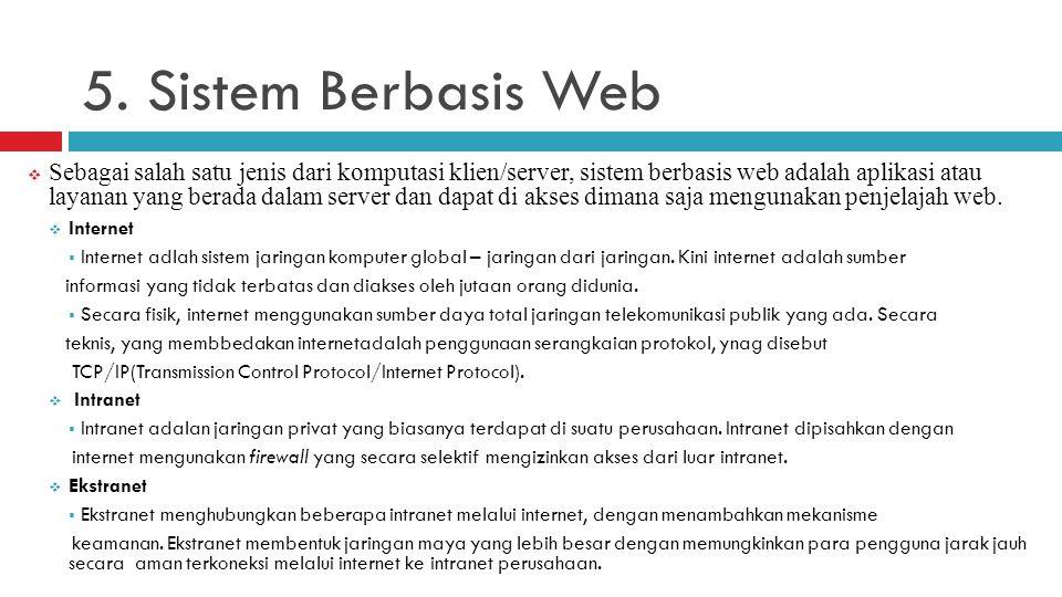 5. Sistem Berbasis Web  Sebagai salah satu jenis dari komputasi klien/server, sistem berbasis web adalah aplikasi atau layanan yang berada dalam serv