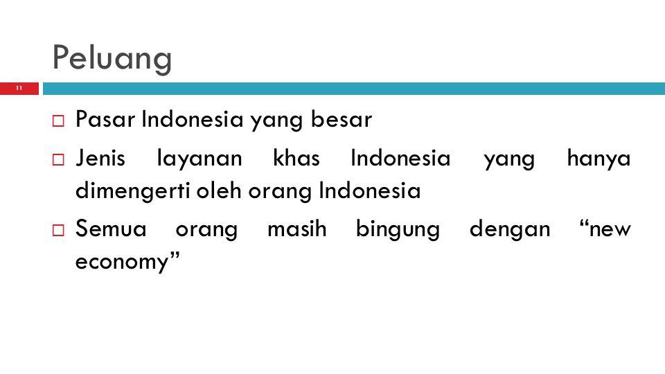 11 Peluang  Pasar Indonesia yang besar  Jenis layanan khas Indonesia yang hanya dimengerti oleh orang Indonesia  Semua orang masih bingung dengan new economy