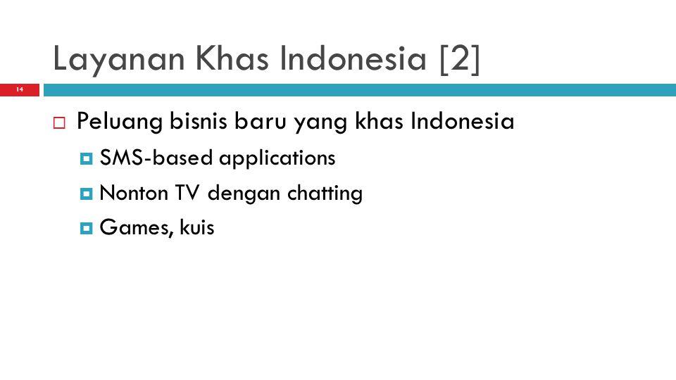 14 Layanan Khas Indonesia [2]  Peluang bisnis baru yang khas Indonesia  SMS-based applications  Nonton TV dengan chatting  Games, kuis