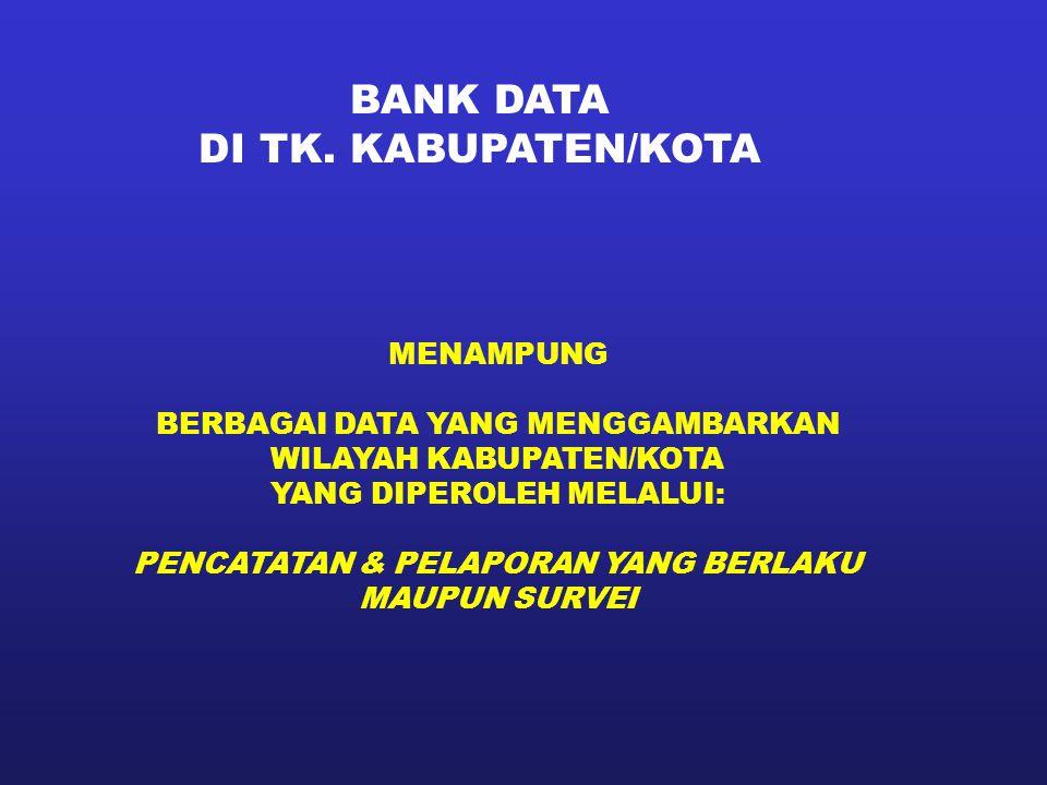 BANK DATA DI TK. KABUPATEN/KOTA MENAMPUNG BERBAGAI DATA YANG MENGGAMBARKAN WILAYAH KABUPATEN/KOTA YANG DIPEROLEH MELALUI: PENCATATAN & PELAPORAN YANG