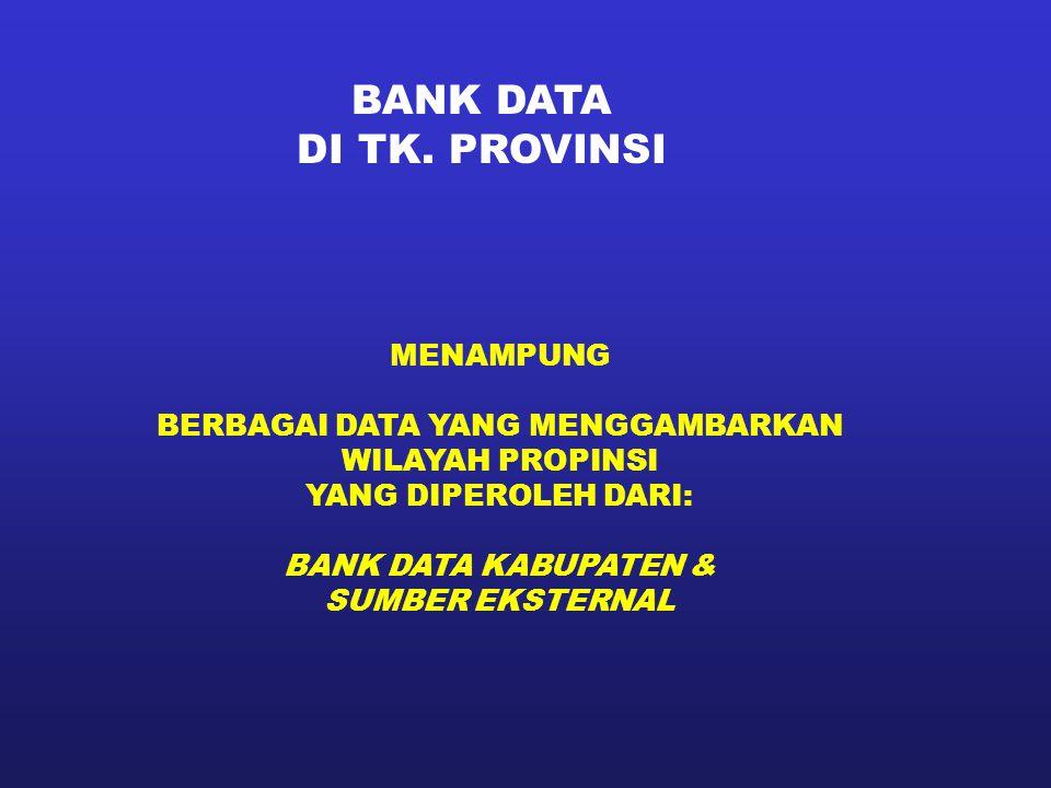 BANK DATA DI TK. PROVINSI MENAMPUNG BERBAGAI DATA YANG MENGGAMBARKAN WILAYAH PROPINSI YANG DIPEROLEH DARI: BANK DATA KABUPATEN & SUMBER EKSTERNAL