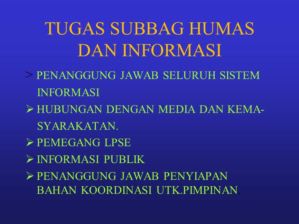 TUGAS SUBBAG HUMAS DAN INFORMASI > PENANGGUNG JAWAB SELURUH SISTEM INFORMASI  HUBUNGAN DENGAN MEDIA DAN KEMA- SYARAKATAN.  PEMEGANG LPSE  INFORMASI