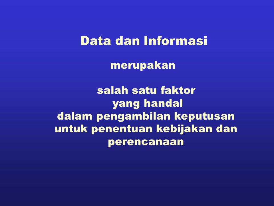Data dan Informasi salah satu faktor yang handal dalam pengambilan keputusan untuk penentuan kebijakan dan perencanaan merupakan