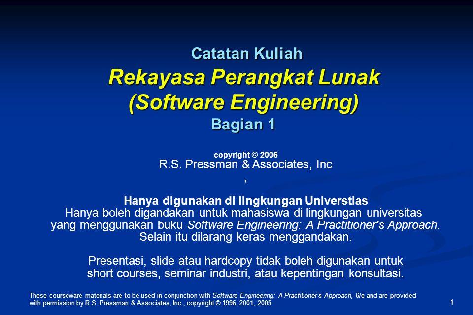 Software Engineering Institute (SEI) Capability Maturity Model (CMM) Level 1: Mengawali (ad hoc software processes) Level 1: Mengawali (ad hoc software processes) Level 2: Mengulang (bisa mengulang keberhasilan terdahulu) Level 2: Mengulang (bisa mengulang keberhasilan terdahulu) Level 3: Menentukan ( manajemen dan dokumentasi proses rekayasa, standarisasi, dan integrasi ke bentuk organisasi -proses software yang lebih luas) Level 3: Menentukan ( manajemen dan dokumentasi proses rekayasa, standarisasi, dan integrasi ke bentuk organisasi -proses software yang lebih luas) Level 4; Mengatur (proses software process dan produk secara kuantitas dan dikontrol menggunakan tingkat pengukuran yang rinci) Level 4; Mengatur (proses software process dan produk secara kuantitas dan dikontrol menggunakan tingkat pengukuran yang rinci) Level 5: Optimasi (secara kontinyu meningkatkan proses yang dimungkinkan dengan cara secara kuantitatif memberikan feedback mengenai idea proses dan inovasi pengujian) Level 5: Optimasi (secara kontinyu meningkatkan proses yang dimungkinkan dengan cara secara kuantitatif memberikan feedback mengenai idea proses dan inovasi pengujian) These courseware materials are to be used in conjunction with Software Engineering: A Practitioner's Approach, 6/e and are provided with permission by R.S.