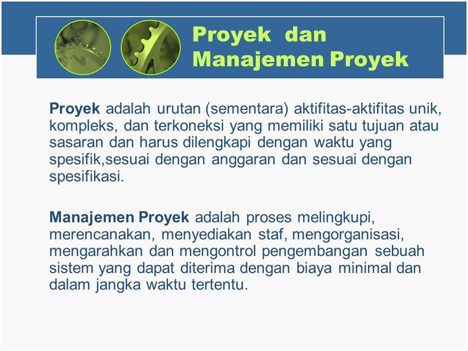Proyek dan Manajemen Proyek Proyek adalah urutan (sementara) aktifitas-aktifitas unik, kompleks, dan terkoneksi yang memiliki satu tujuan atau sasaran dan harus dilengkapi dengan waktu yang spesifik,sesuai dengan anggaran dan sesuai dengan spesifikasi.