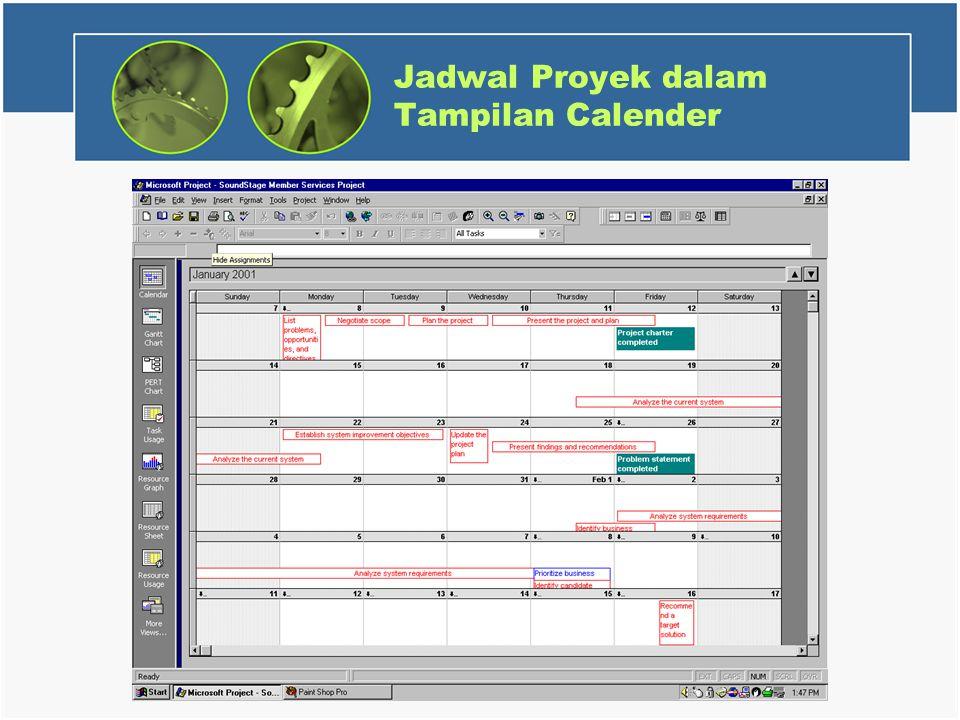 Jadwal Proyek dalam Tampilan Calender