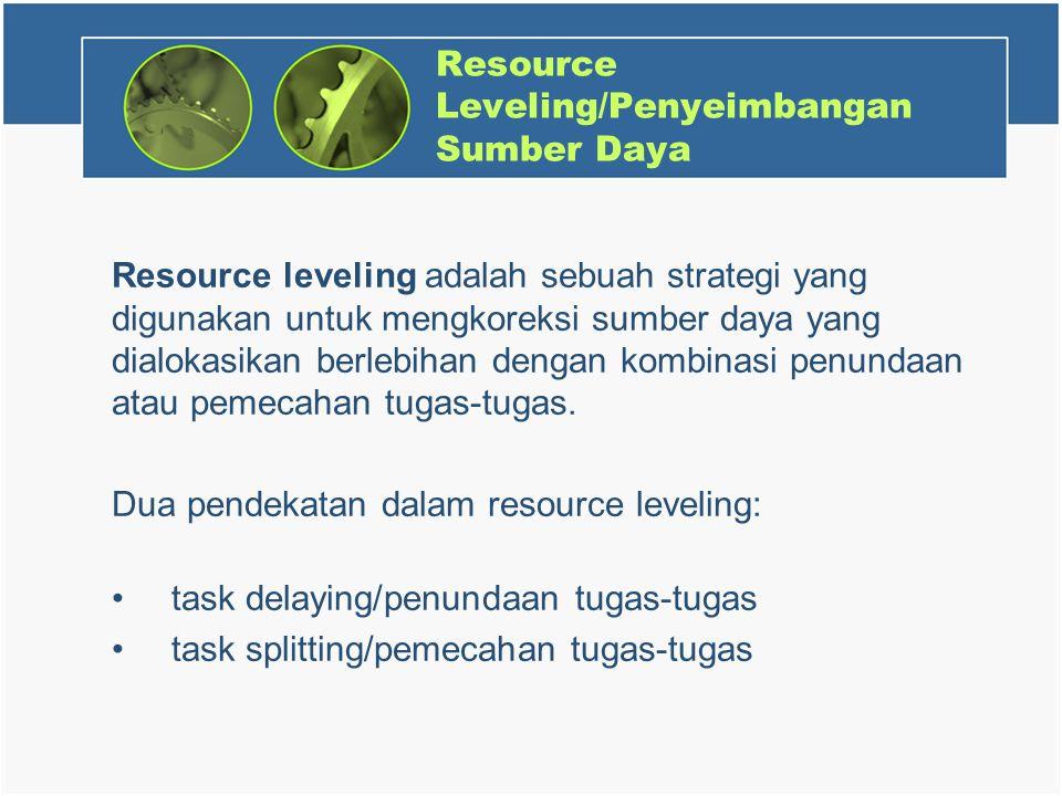 Resource Leveling/Penyeimbangan Sumber Daya Resource leveling adalah sebuah strategi yang digunakan untuk mengkoreksi sumber daya yang dialokasikan berlebihan dengan kombinasi penundaan atau pemecahan tugas-tugas.
