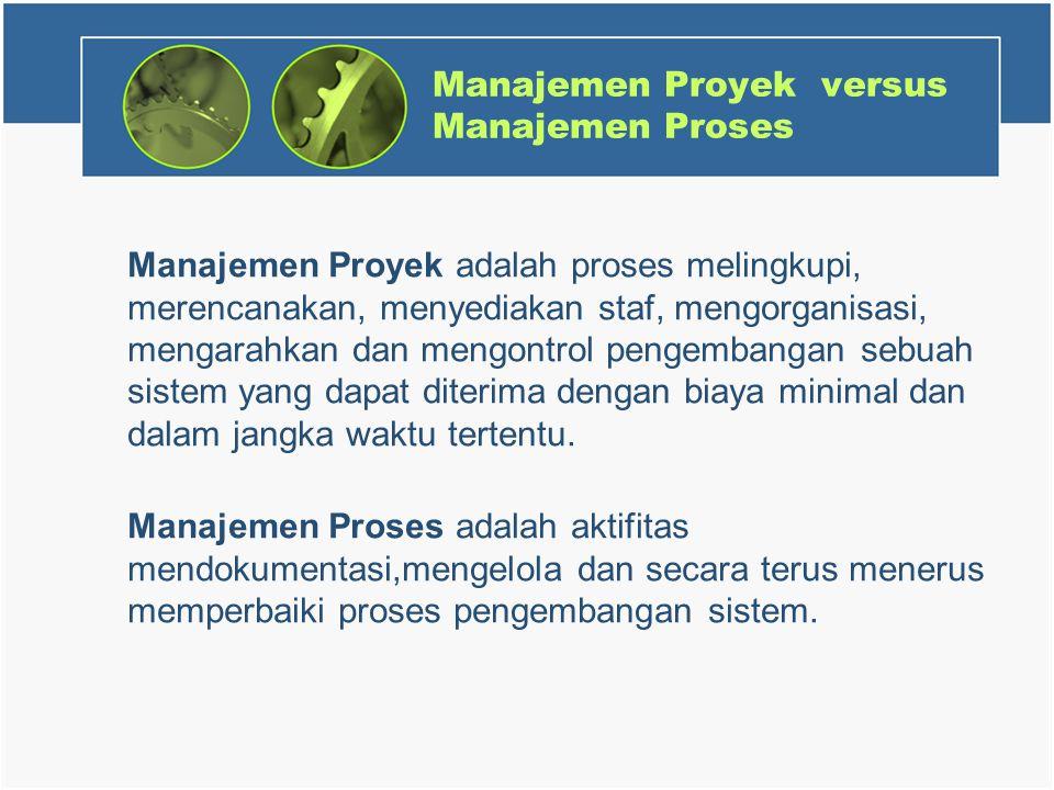 Manajemen Proyek versus Manajemen Proses Manajemen Proyek adalah proses melingkupi, merencanakan, menyediakan staf, mengorganisasi, mengarahkan dan mengontrol pengembangan sebuah sistem yang dapat diterima dengan biaya minimal dan dalam jangka waktu tertentu.