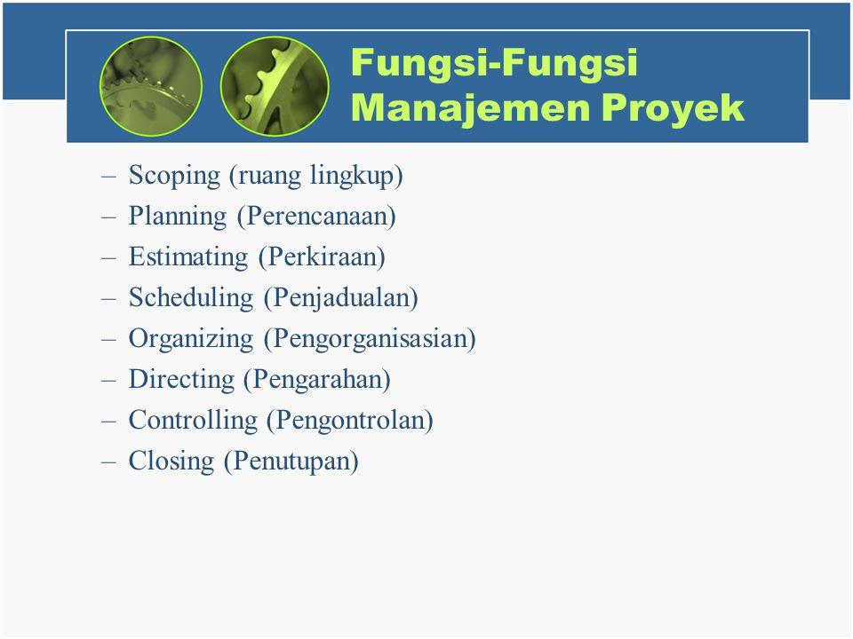 Fungsi-Fungsi Manajemen Proyek –Scoping (ruang lingkup) –Planning (Perencanaan) –Estimating (Perkiraan) –Scheduling (Penjadualan) –Organizing (Pengorganisasian) –Directing (Pengarahan) –Controlling (Pengontrolan) –Closing (Penutupan)