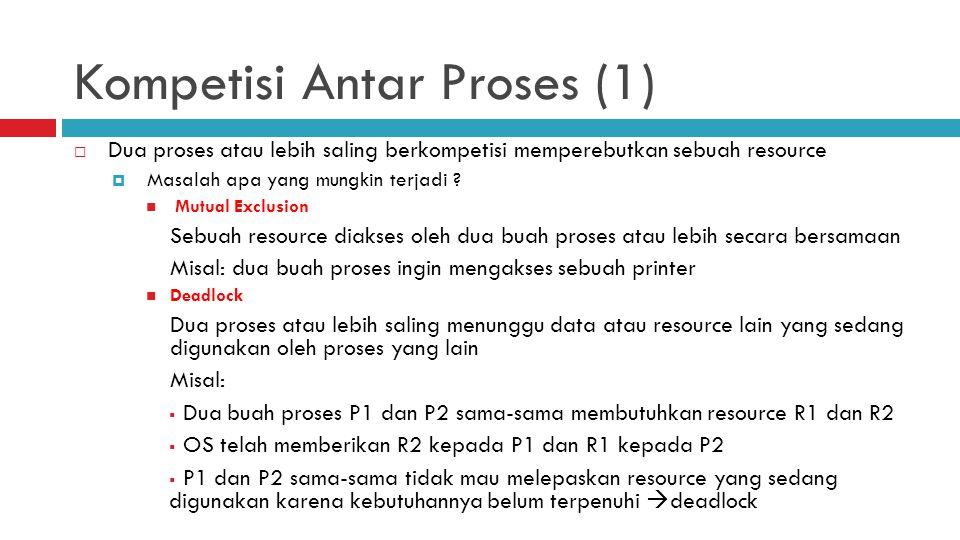 Kompetisi Antar Proses (1)  Dua proses atau lebih saling berkompetisi memperebutkan sebuah resource  Masalah apa yang mungkin terjadi ? Mutual Exclu