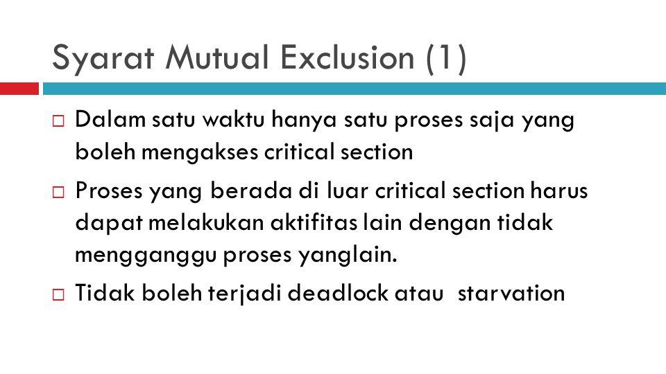Syarat Mutual Exclusion (1)  Dalam satu waktu hanya satu proses saja yang boleh mengakses critical section  Proses yang berada di luar critical sect