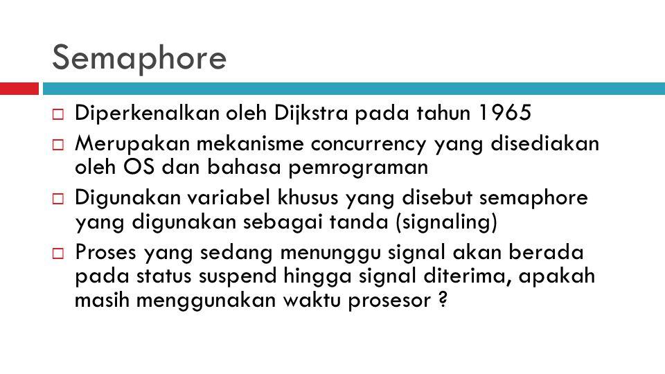 Semaphore  Diperkenalkan oleh Dijkstra pada tahun 1965  Merupakan mekanisme concurrency yang disediakan oleh OS dan bahasa pemrograman  Digunakan v