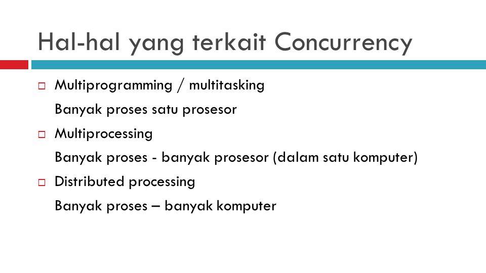 Hal-hal yang terkait Concurrency  Multiprogramming / multitasking Banyak proses satu prosesor  Multiprocessing Banyak proses - banyak prosesor (dala