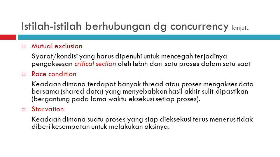 Istilah-istilah berhubungan dg concurrency lanjut..  Mutual exclusion Syarat/kondisi yang harus dipenuhi untuk mencegah terjadinya pengaksesan critic