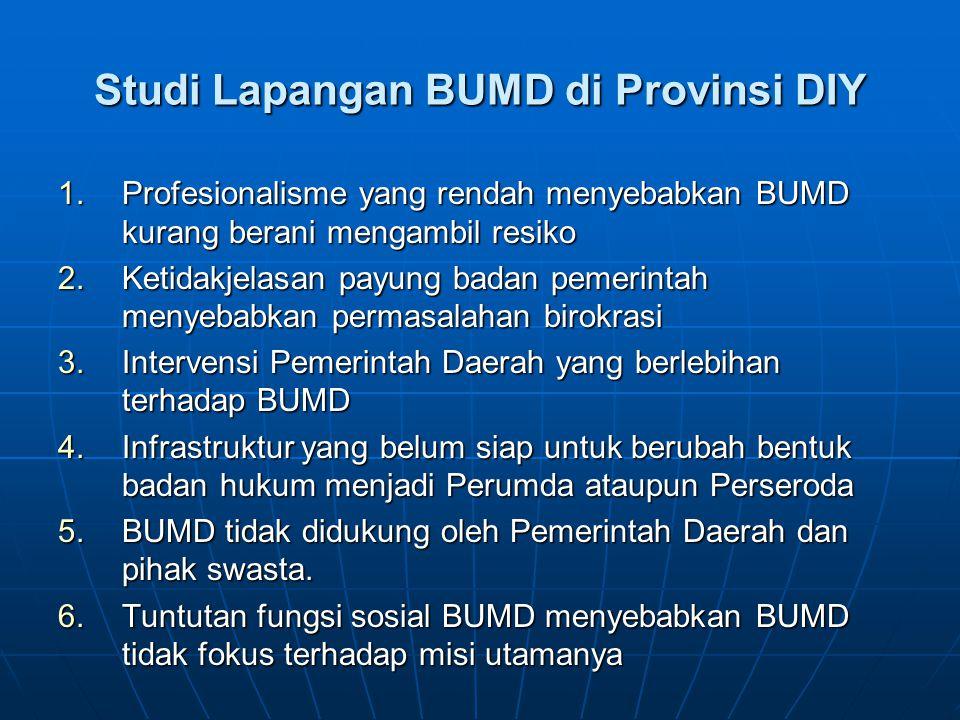 Studi Lapangan BUMD di Provinsi DIY 1.Profesionalisme yang rendah menyebabkan BUMD kurang berani mengambil resiko 2.Ketidakjelasan payung badan pemeri