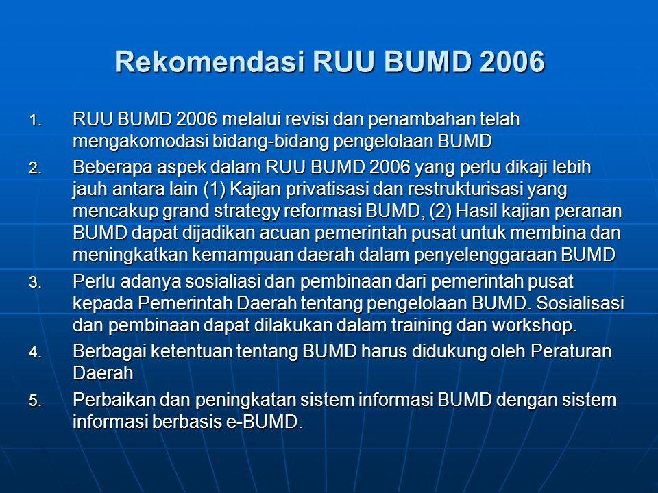 Rekomendasi RUU BUMD 2006 1. RUU BUMD 2006 melalui revisi dan penambahan telah mengakomodasi bidang-bidang pengelolaan BUMD 2. Beberapa aspek dalam RU