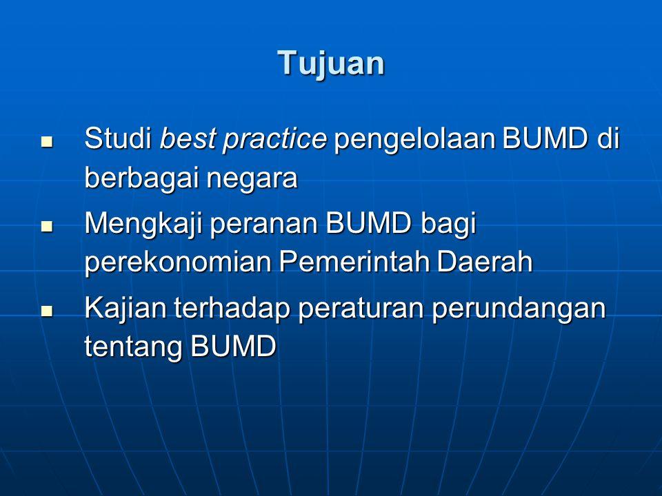 Tujuan Studi best practice pengelolaan BUMD di berbagai negara Studi best practice pengelolaan BUMD di berbagai negara Mengkaji peranan BUMD bagi pere