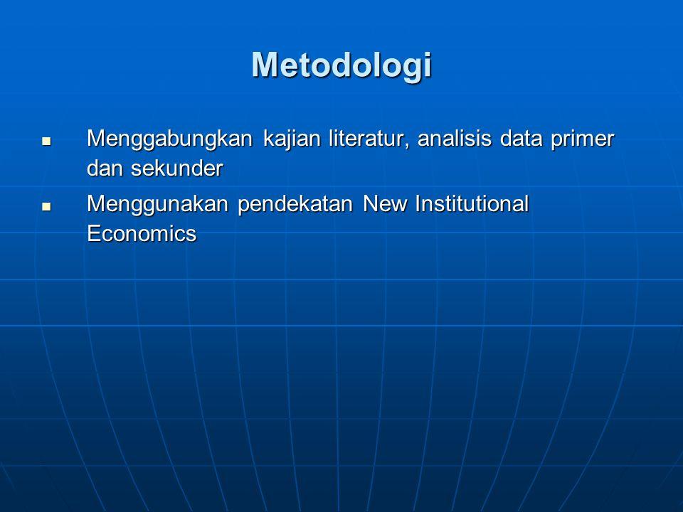 Metodologi Menggabungkan kajian literatur, analisis data primer dan sekunder Menggabungkan kajian literatur, analisis data primer dan sekunder Menggunakan pendekatan New Institutional Economics Menggunakan pendekatan New Institutional Economics
