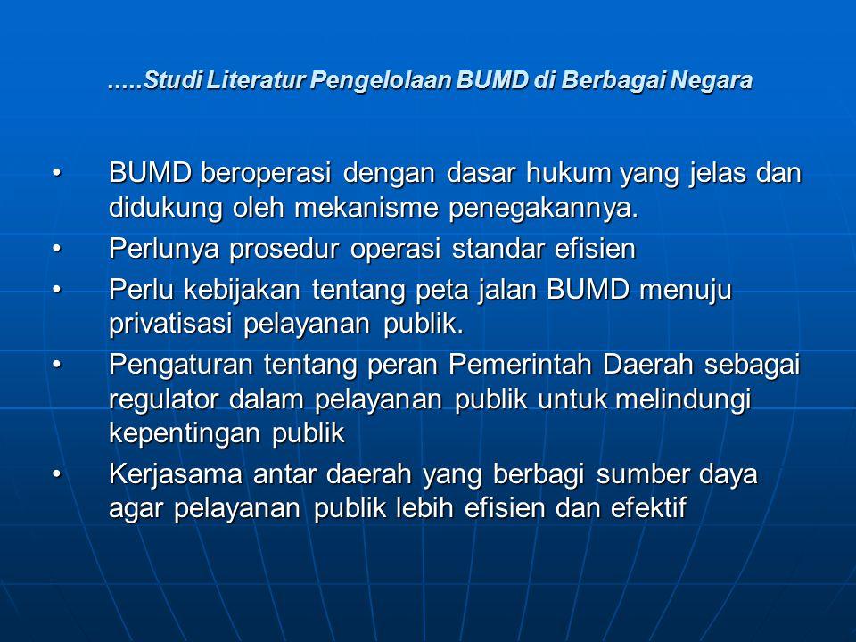 .....Studi Literatur Pengelolaan BUMD di Berbagai Negara BUMD beroperasi dengan dasar hukum yang jelas dan didukung oleh mekanisme penegakannya.BUMD b