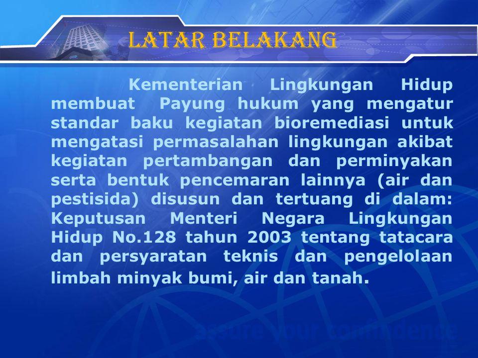 Latar belakang Kementerian Lingkungan Hidup membuat Payung hukum yang mengatur standar baku kegiatan bioremediasi untuk mengatasi permasalahan lingkun