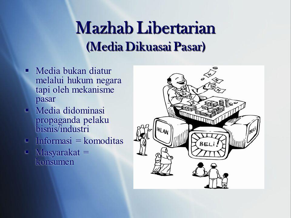 Mazhab Libertarian (Media Dikuasai Pasar)  Media bukan diatur melalui hukum negara tapi oleh mekanisme pasar  Media didominasi propaganda pelaku bisnis/industri  Informasi = komoditas  Masyarakat = konsumen  Media bukan diatur melalui hukum negara tapi oleh mekanisme pasar  Media didominasi propaganda pelaku bisnis/industri  Informasi = komoditas  Masyarakat = konsumen