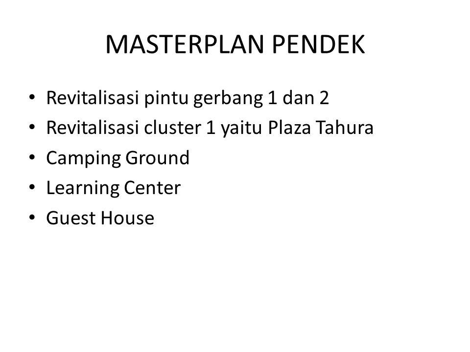 MASTERPLAN PENDEK Revitalisasi pintu gerbang 1 dan 2 Revitalisasi cluster 1 yaitu Plaza Tahura Camping Ground Learning Center Guest House