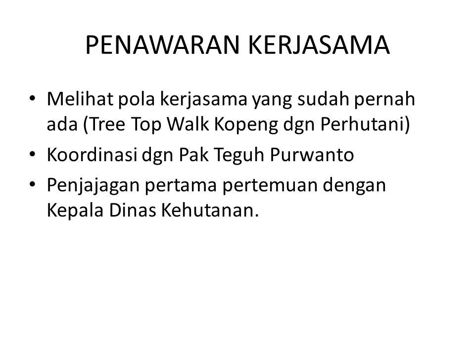 PENAWARAN KERJASAMA Melihat pola kerjasama yang sudah pernah ada (Tree Top Walk Kopeng dgn Perhutani) Koordinasi dgn Pak Teguh Purwanto Penjajagan per