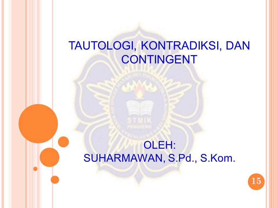 15 TAUTOLOGI, KONTRADIKSI, DAN CONTINGENT OLEH: SUHARMAWAN, S.Pd., S.Kom.