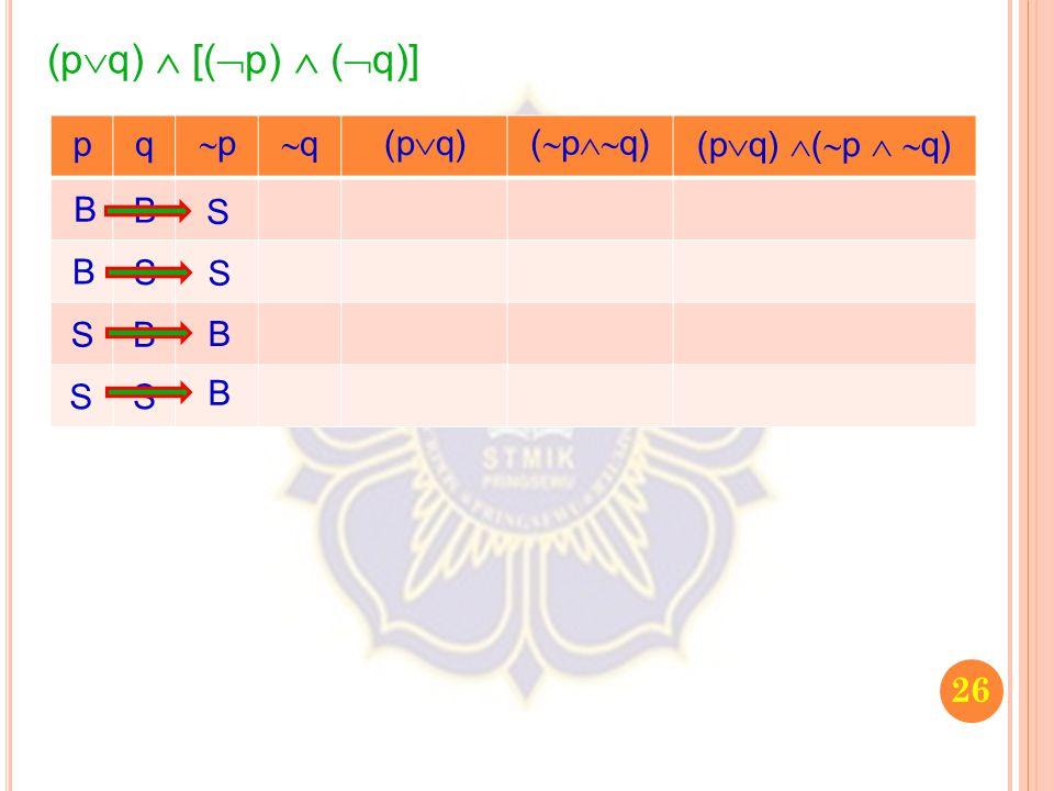 26 (p  q)  [(  p)  (  q)] pq pp qq (p  q) (  p  q) (p  q)  (  p   q) B B S S B S B S S S B B