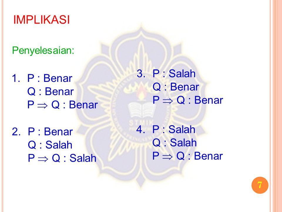 8 BIIMPLIKASI Misalkan ada dua buah pernyataan yaitu P dan Q.