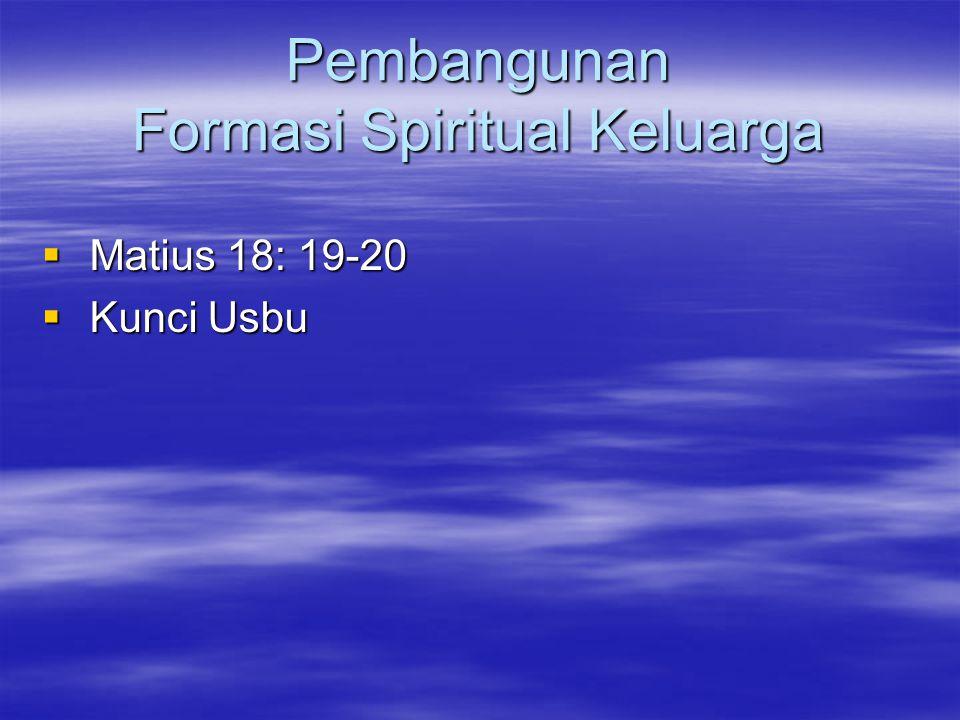 Pembangunan Formasi Spiritual Keluarga  Matius 18: 19-20  Kunci Usbu