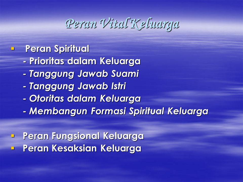 Peran Vital Keluarga  Peran Spiritual - Prioritas dalam Keluarga - Tanggung Jawab Suami - Tanggung Jawab Istri - Otoritas dalam Keluarga - Membangun Formasi Spiritual Keluarga  Peran Fungsional Keluarga  Peran Kesaksian Keluarga