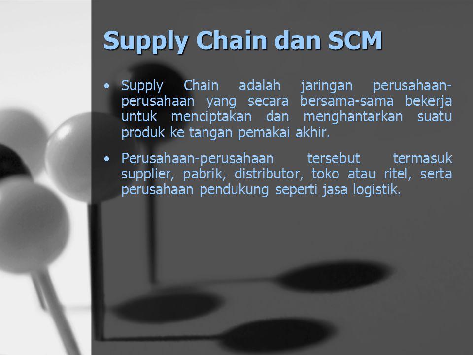 Supply Chain dan SCM Supply Chain adalah jaringan perusahaan- perusahaan yang secara bersama-sama bekerja untuk menciptakan dan menghantarkan suatu produk ke tangan pemakai akhir.