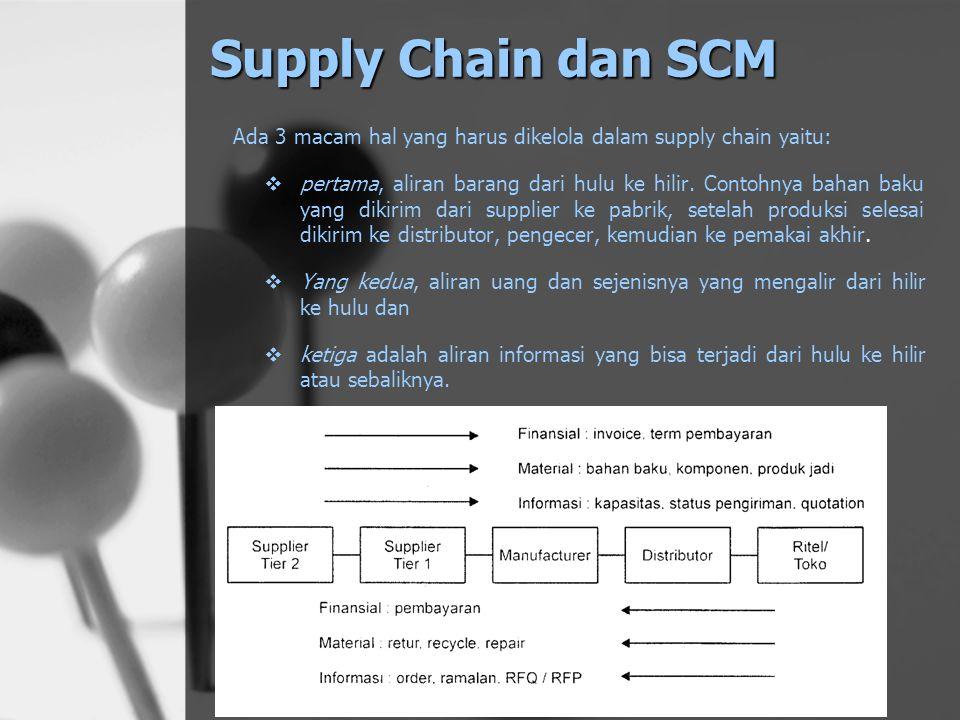 Area Cakupan SCM Bagian Cakupan kegiatan antara lain Pengembangan Produk Melakukan riset pasar, merancang produk baru, melibatkan supplier dalam perancangan produk baru PengadaanMemilih supplier mengevaluasi kinerja supplier, melakukan pembelian bahan baku dan komponen, memonitor supply risk, membina dan memelihara hubungan dengan supplier Perencanaan dan Pengendalian Demand planning, peramalan permintaan, perencanaan kapasitas, perencanaan produksi dan persediaan ProduksiEksekusi produksi, pengendalian kualitas DistribusiPerencanaan jaringan distribusi, penjadwalan pengiriman, mencari dan memelihara hubungan dengan perusahaan jasa pengiriman, memonitor service level di tiap pusat distribusi